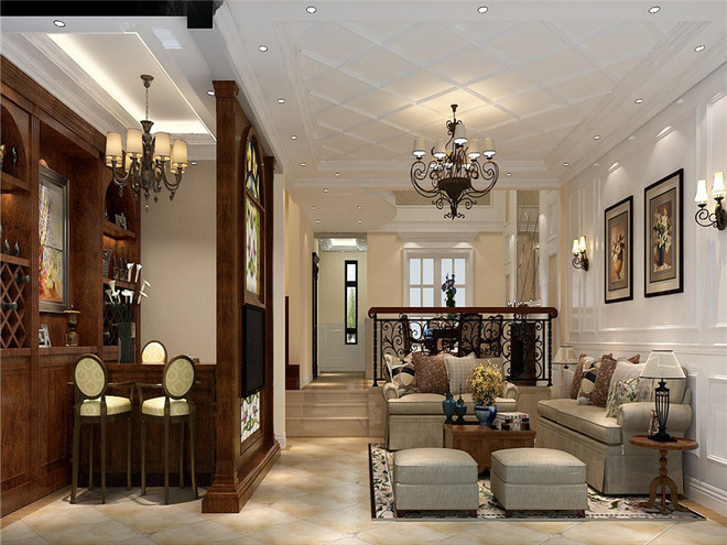 欧式古典别墅客厅图片大全