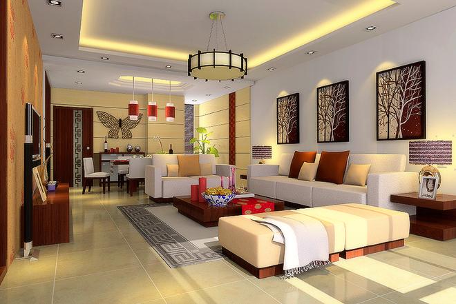 新中式跃层客厅装修效果图欣赏