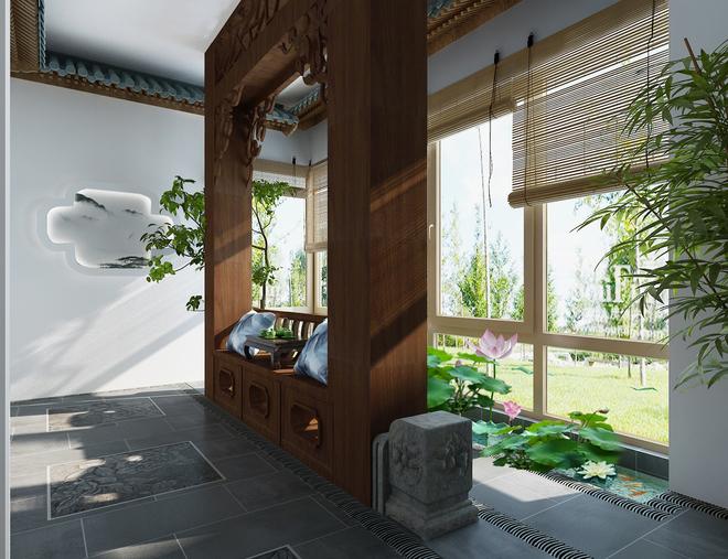 新中式别墅庭院(隔断)装修效果图大全2015图片