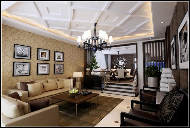 现代别墅客厅装修效果图大全2015图片