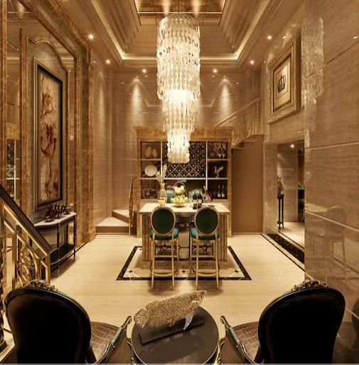 欧式古典别墅餐厅装修效果图大全2015图片
