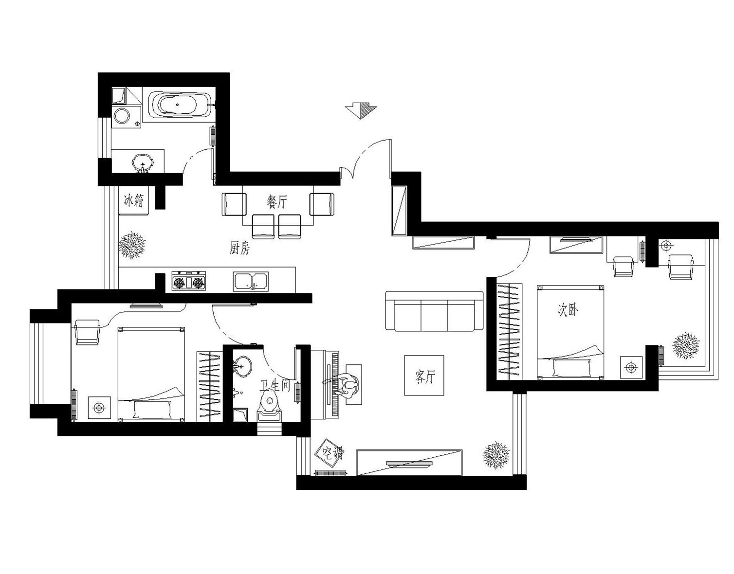 纳丹堡76平米二居装修效果图大全2015图片-搜狐焦点